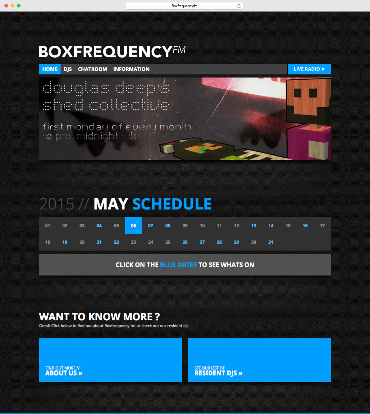 Boxfrequency.fm homepage design